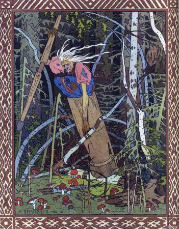 Baba Yaga in her mortar, by Ivan Bilibin
