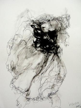 Nereids Left Figure' 2013  50.8 X 40.6 cm (Framed) Rachelle Allen-Sherwood